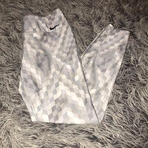 Nike White & Silver Dri-Fit Full Length Leggings